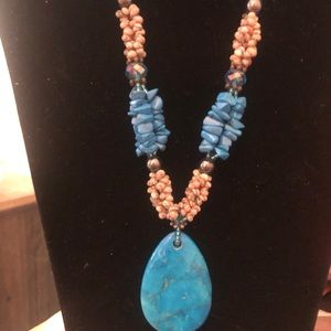 Teal blue necklace